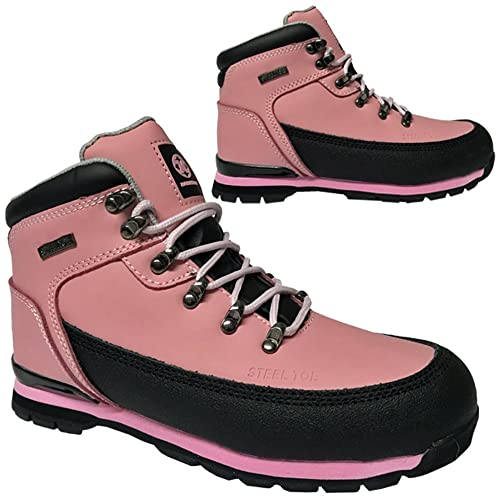 620f45f0e99 LADIES SAFETY BOOTS STEEL TOE CAPS ANKLE TRAINERS HIKING SHOES PINK 3-9UK  WORK (
