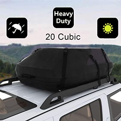 Oanon 20 Cubic Car Cargo Roof Bag - Waterproof Duty Car Roof Top Carrier - Easy to Install Soft Rooftop Luggage Carriers with Wide Straps 20 Cubic Feet (Thickened - 20 Cubic): Automotive