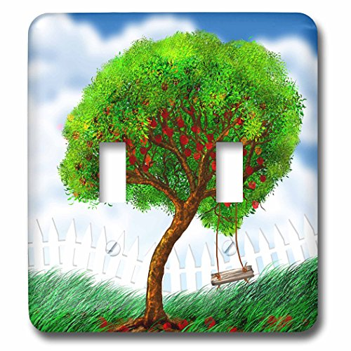 3dRose Dream Essence Designs-Trees - Pretty apple tree with rope swing and picket fence. - Light Switch Covers - double toggle switch (lsp_266086_2)