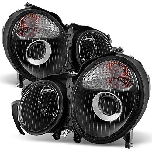 For 00-02 Mercedes Benz W210 E-Class E320 E430 E55 Black Bezel Projector Headlights Lamps Left+Right (Mercedes E320 W210)