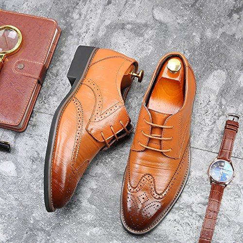 Hombres Hollow Business Clasico Zapatos Marrón Transpirable Estilo De Punta Los ALIKEEYEl De Casual npYBRqI6x