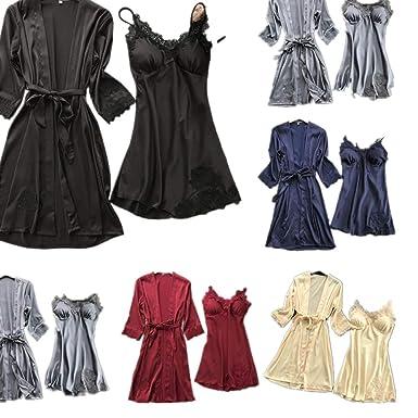 Damen-nachtwäsche Frauen Pyjamas Sexy Dessous Frauen Seide Spitze Robe Kleid Babydoll Nachthemd Nachtwäsche Kimono Nachthemd Sexy Sexy Dessous Frauen @ 8