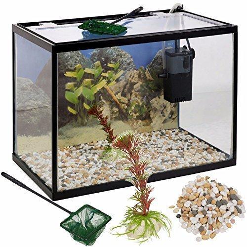 Urbn Living 18 LITRO VETRO ACQUARIO PESCI Starter Set con filtro pompa rete PIANTA pietre EASYGIFT
