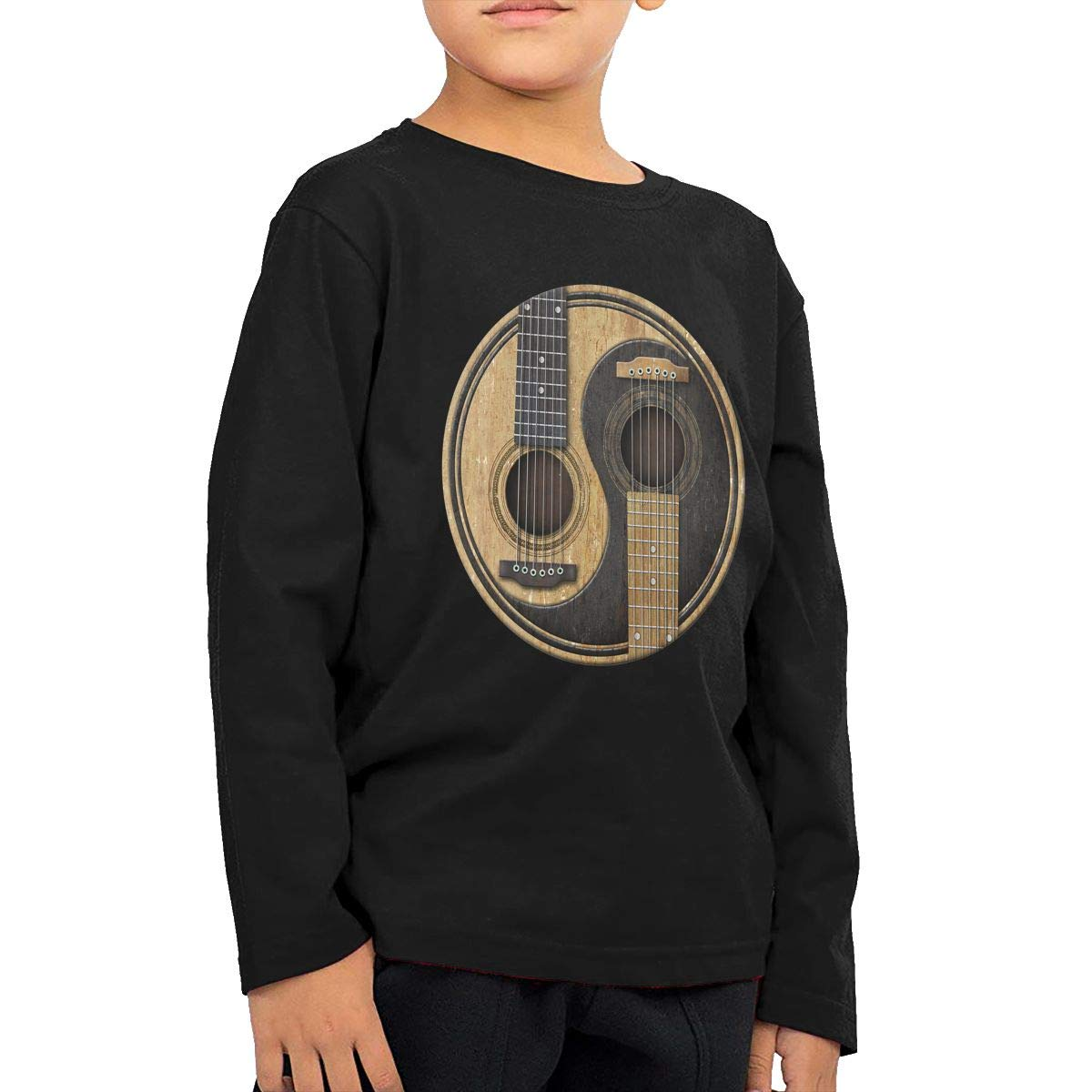 Baby Boys Kids Old and Worn Acoustic Guitars Yin Yang Printed Long Sleeve 100/% Cotton Infants T Shirts