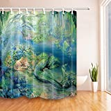 Mermaid Shower Curtain NYMB The mermaid in green seaside 69X70 inches Mildew Resistant Polyester Fabric Shower Curtain Set Fantastic Decorations Bath Curtain