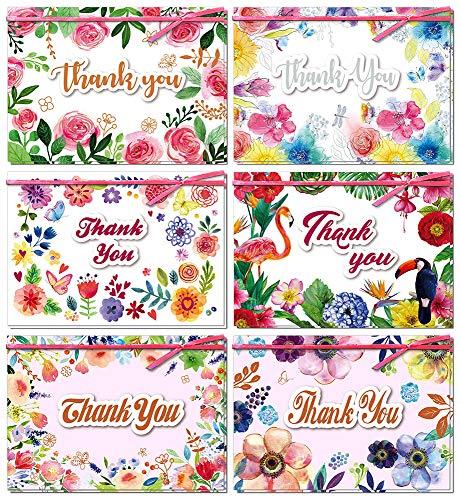 Dream Daisy 12 Pack Thank You Cards, 6 Designs Floral Handmade Greeting Cards with Ribbon for Baby Shower, Wedding, Anniversary and Business, Bulk Box Set with 12+1 Pcs White Envelopes, 5 x 7 Inches