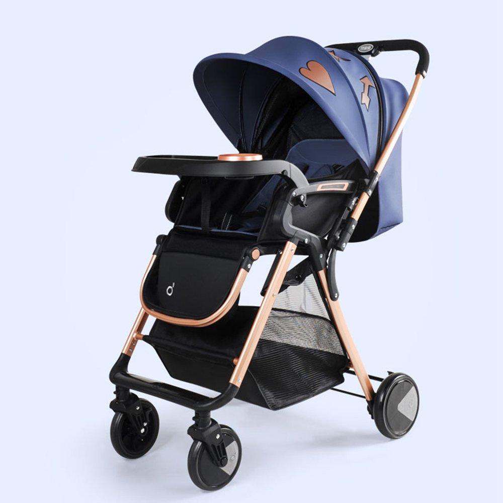YANGFEI ベビーカー ベビーシッターベビーベビーカー新生児の子供用ベビーカー0-36ヶ月古いベビーカーと耐候カバー ショックアブソーバタイヤ  青 B07H1ZLLLD