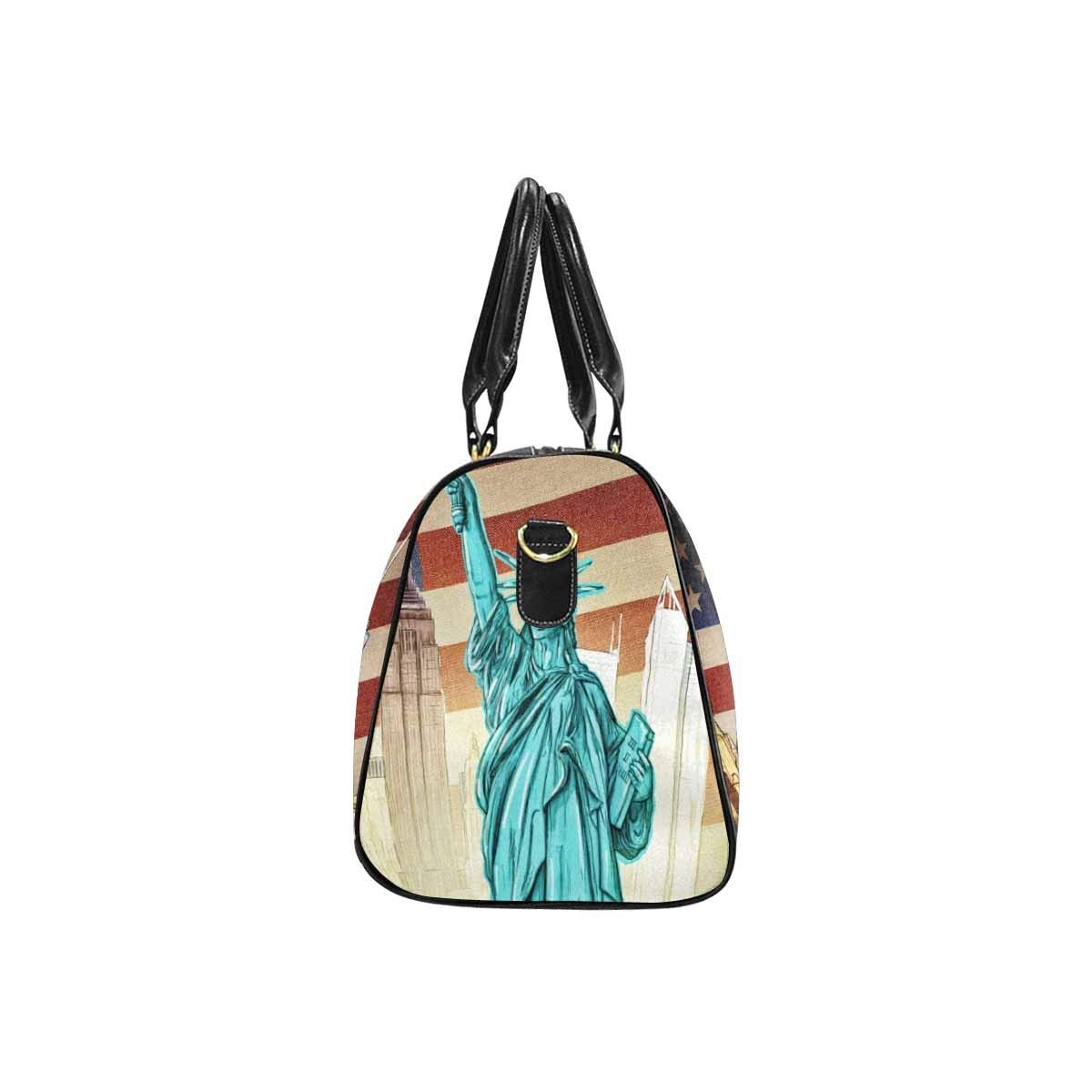 InterestPrint Waterproof Travel Bag Sports Duffel Tote Overnight Bag Statue of Liberty