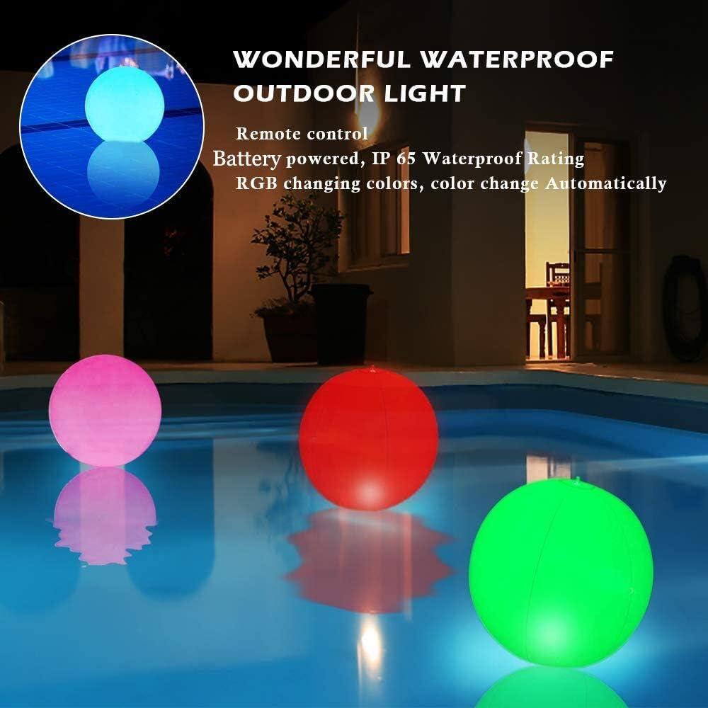 HORAVA Floating Pool Lights Waterproof 16 Colors Changing Hangable ...