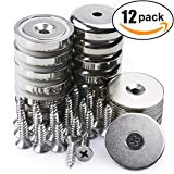 Neodymium Cup Magnets with 90 lbs Pull Capacity Each - Dia 1.26'' - w/Matching Strikers and Screws - Strongest Round Base Magnets