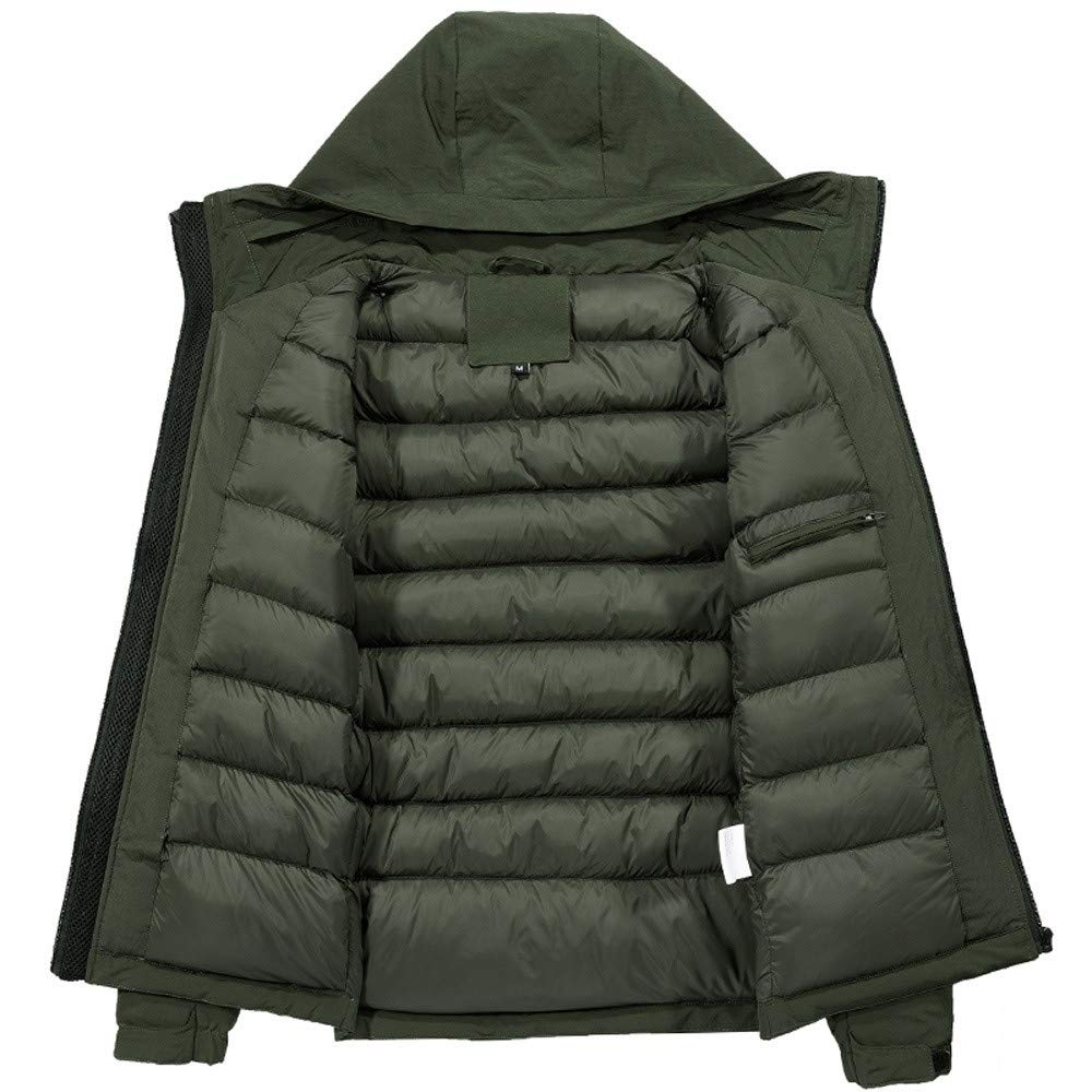 LISTHA Mens Winter Coat Thick Warm Hooded Zipper Jacket Cotton Padded Cardigan