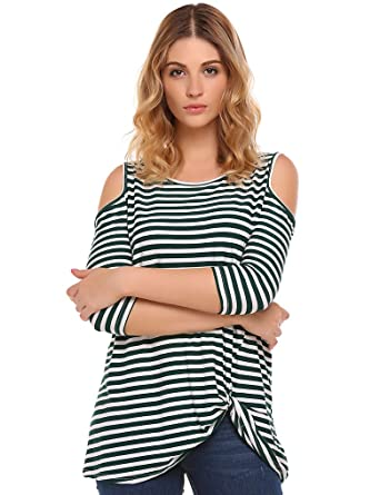 44939c75a51c2 Halife Womans Cold Shoulder Shirt Striped 3 4 Sleeve Casual Scoop Neck Tops  Tee (