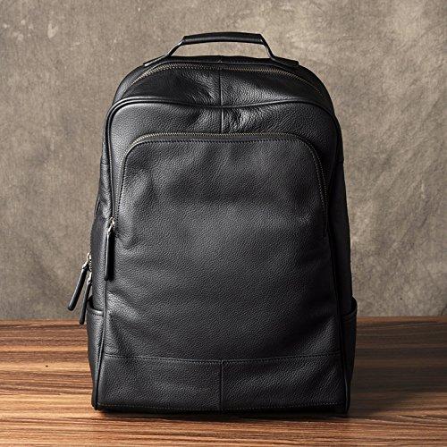 Men's leather backpack bag computer bag fashion business.