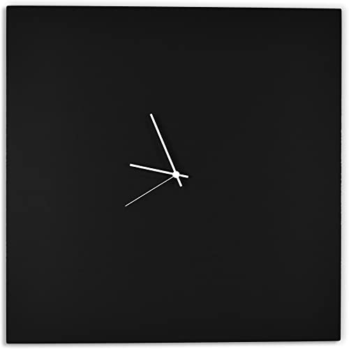 Modern Black Clock Blackout White Square Clock Large Minimalist Metal Wall Clocks, Contemporary Decor – 23in. Black w White Hands