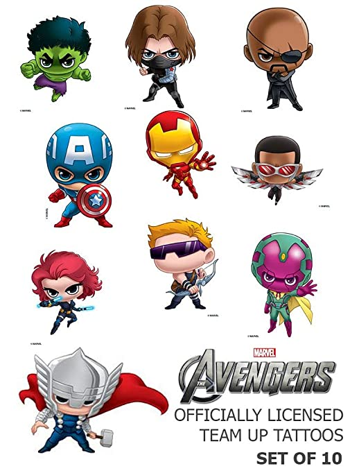 Juego de 10 tatuajes de Los Vengadores Marvel Team Up, ideal para ...