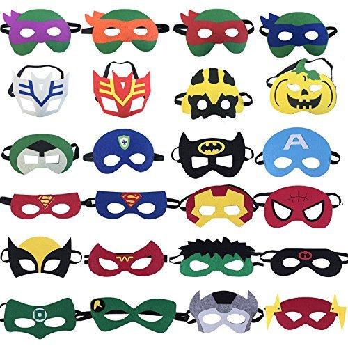 KRUCE 24 Máscaras de Fiesta de Superhéroes, Máscara de Dibujos Animados de Tortugas Ninja, Suministros de Fiesta de Cumpleaños de Superhéroe, Niños de Más de 3 Años o Niños Jugando a los Juguetes