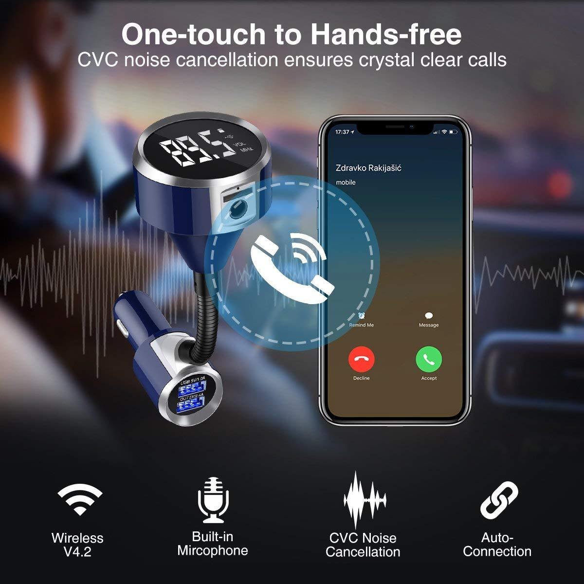 KFZ Auto Radio Adapter drahtlose Bluetooth Freisprechen mit 2 USB Anschlusse Hands-Free LCD Audio USB TF Karte MP3 1,4-Zoll-Display f/ür iPhone 8 Samsung S8 usw ELEGIANT Bluetooth FM Transmitter
