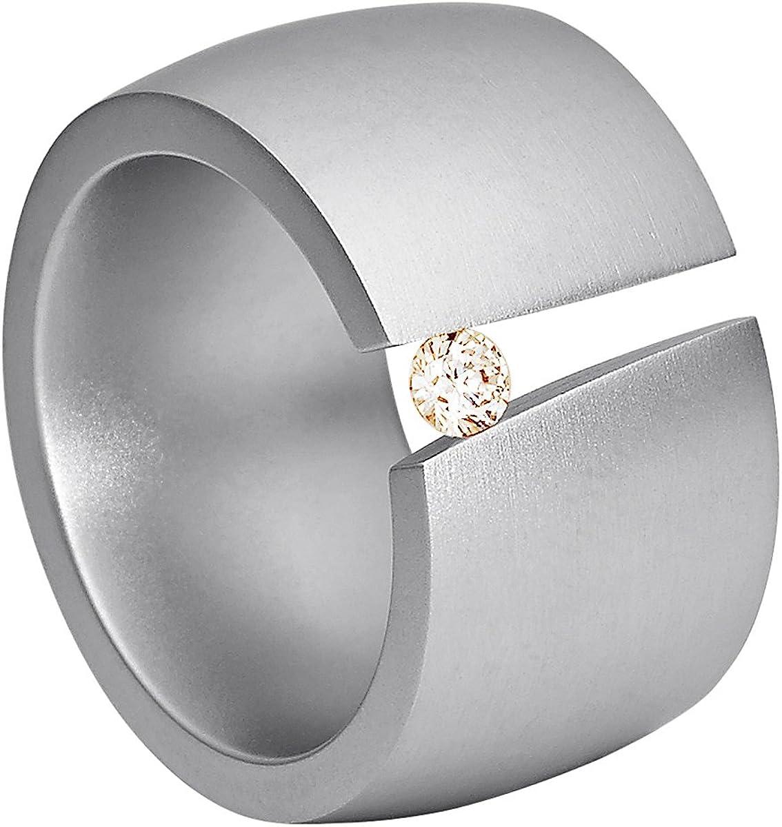 Anillo Heideman Ring Ladies Aditus Acero Inoxidable Color Plata Mate para Damas con Piedra Swarovski de circonio Blanco/Color Brillante Corte 3mm