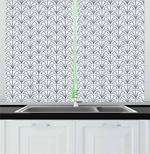 Ambesonne Geometric Kitchen Curtains, Seigaiha Pattern Overlapping Half Circles Wave Pattern Traditional Japanese, Window Drapes 2 Panel Set for Kitchen Cafe, 55 W X 39 L Inches, Blue -