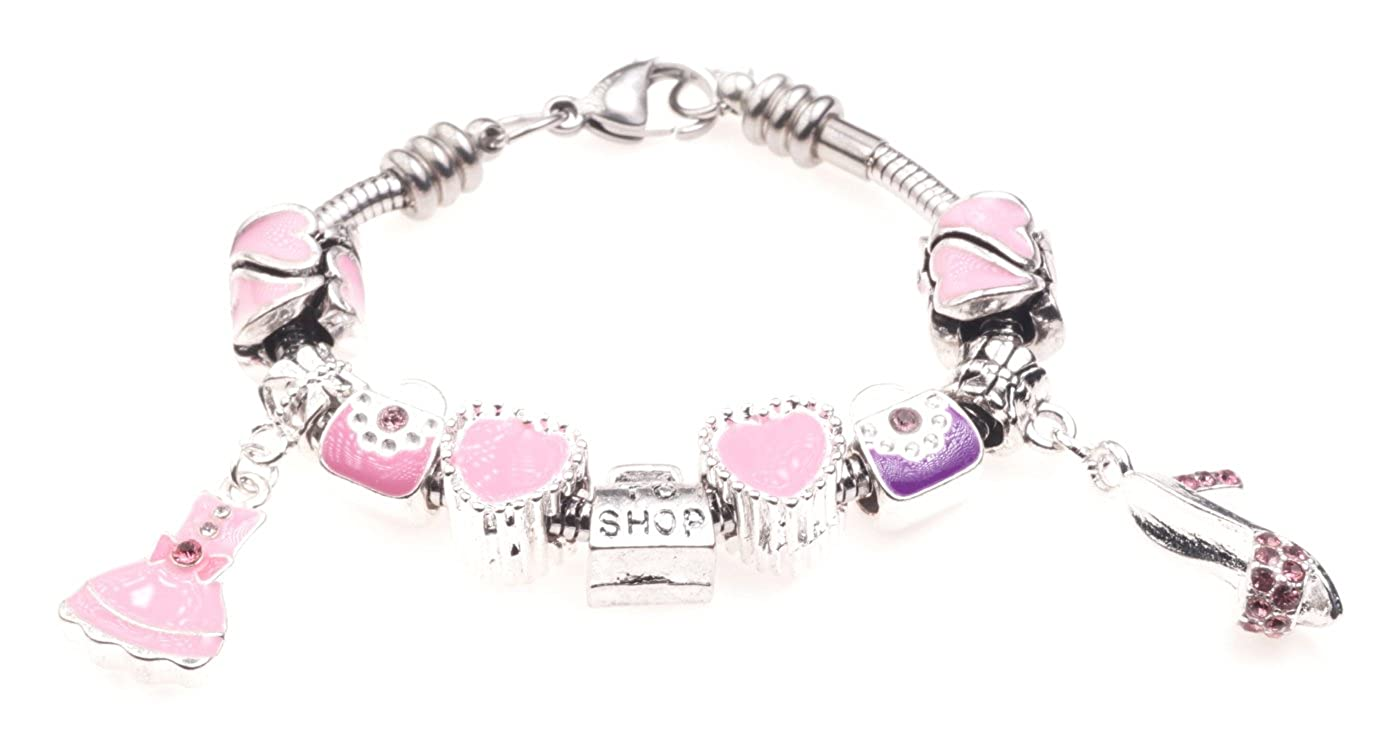 'Little Shopaholic' Shopping Fashion Themed Childrens Charm Bracelet with Gift Box Girls Jewellery Jewellery Hut BRkidsShopping