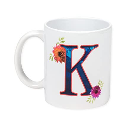 floral monogram letter k 11 ounce ceramic coffee mug