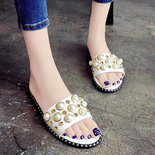 RUGAI-UE Moda Mujer Verano Playa remache Zapatos Zapatos Casual White