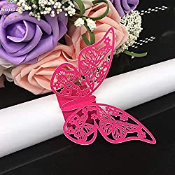 Sopeace Set of 50 Butterfly laser cut paper napkin Rings Holders Party Wedding Favors for bodas Table Decoration (Fuchsia)