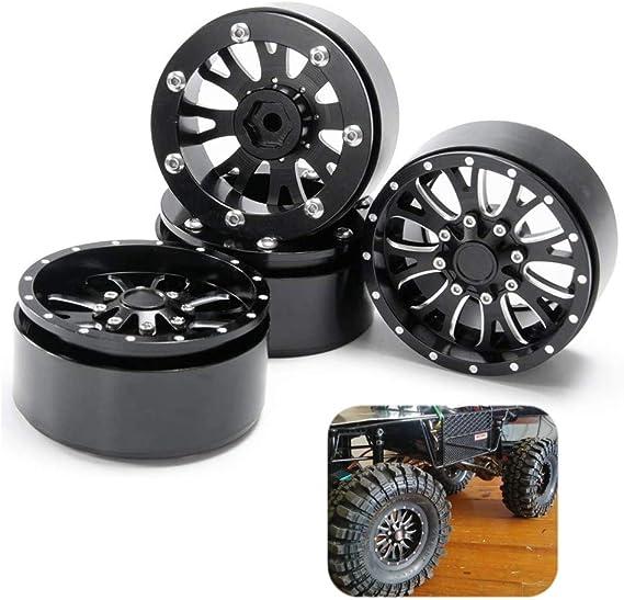 """4PCS 1//10 RC AXIAL Wraith Wheels 2.2/"""" ALUMINUM GUN METAL Beadlock Wheel Rim"""