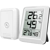 AMIR Digital Hygrometer, Indoor Outdoor Mini Thermometer Monitor with Temperature Humidity Gauge, LCD Display Wireless Outdoor Hygrometer, ℃/℉ Switch, for Home, Office, Baby Room, etc
