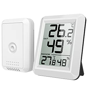 【New Version】 AMIR Digital Temperature and Humidity Monitor, Indoor Outdoor Thermometer, Humidity Meter with LCD Screen, Humidity Gauge for Home, Office, Baby Room, etc(Mini, Battery not Included)