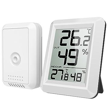 AMIR Higrómetro Digital, Monitor de Humedad Termómetro para Interiores Exteriores con Medidor de Humedad de