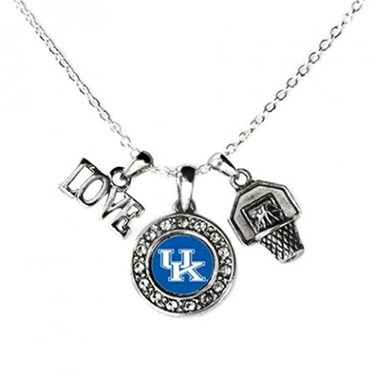 KENTUCKY WILDCATS Multi Charm Love Basketball Blue Silver Necklace Jewelry-UK Basketball Necklace