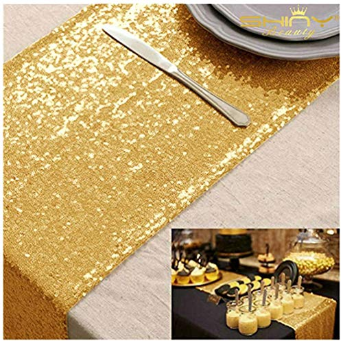 ShinyBeauty 12x72-Inch Rectangle-Gold-Sequin Table Runner- for Wedding/Party/Decor
