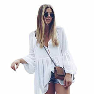 Blouse,NOMENI Women Loose V Neck Bubbles Long Sleeve Casual Shirt Blouse Tops