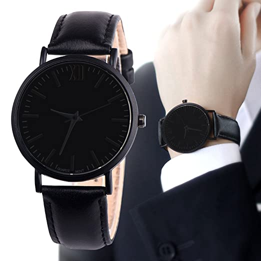 Longra reloj de Pulsera Redondo de Cuarzo analógico de Banda de Cuero para Hombres: Amazon.es: Ropa y accesorios
