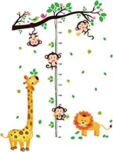 HU SHA Height Growth Chart Wall Decor Monkey Tree Fawn and Lion Height Chart Wall Decals Wall Stickers Removable Vinyl Wall Stickers for Kids Nursery Bedroom Living Room