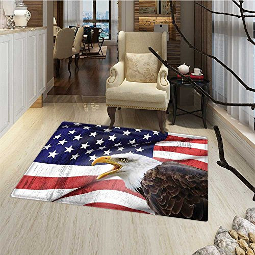 American Flag Door Mat outside Eagle on Foreground Banner Pr