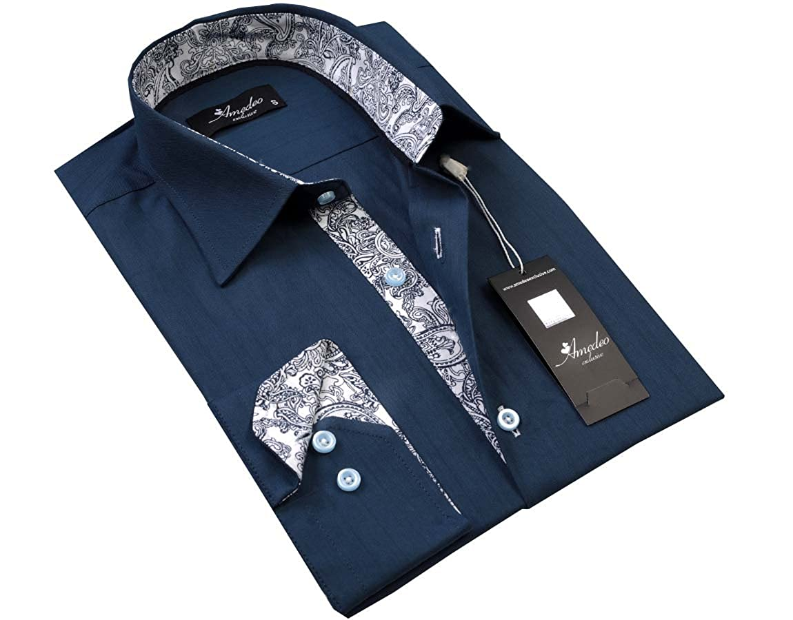 Amedeo Exclusive Men/'s Clothing Blue with White Paisley Button Down Dress Shirt
