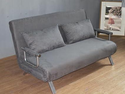 Sofá cama de dos plazas (155 x 69 x 83 cm), gris