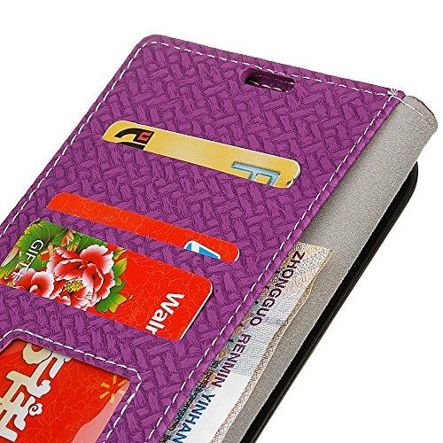 YHUISEN Weave patrón de cierre magnético de cuero de la PU Carpeta Flip Folio caso con soporte / tarjeta de ranura cubierta protectora de la caja para Samsung Galaxy J3 / J3 2016 J310 ( Color : Blue ) morado