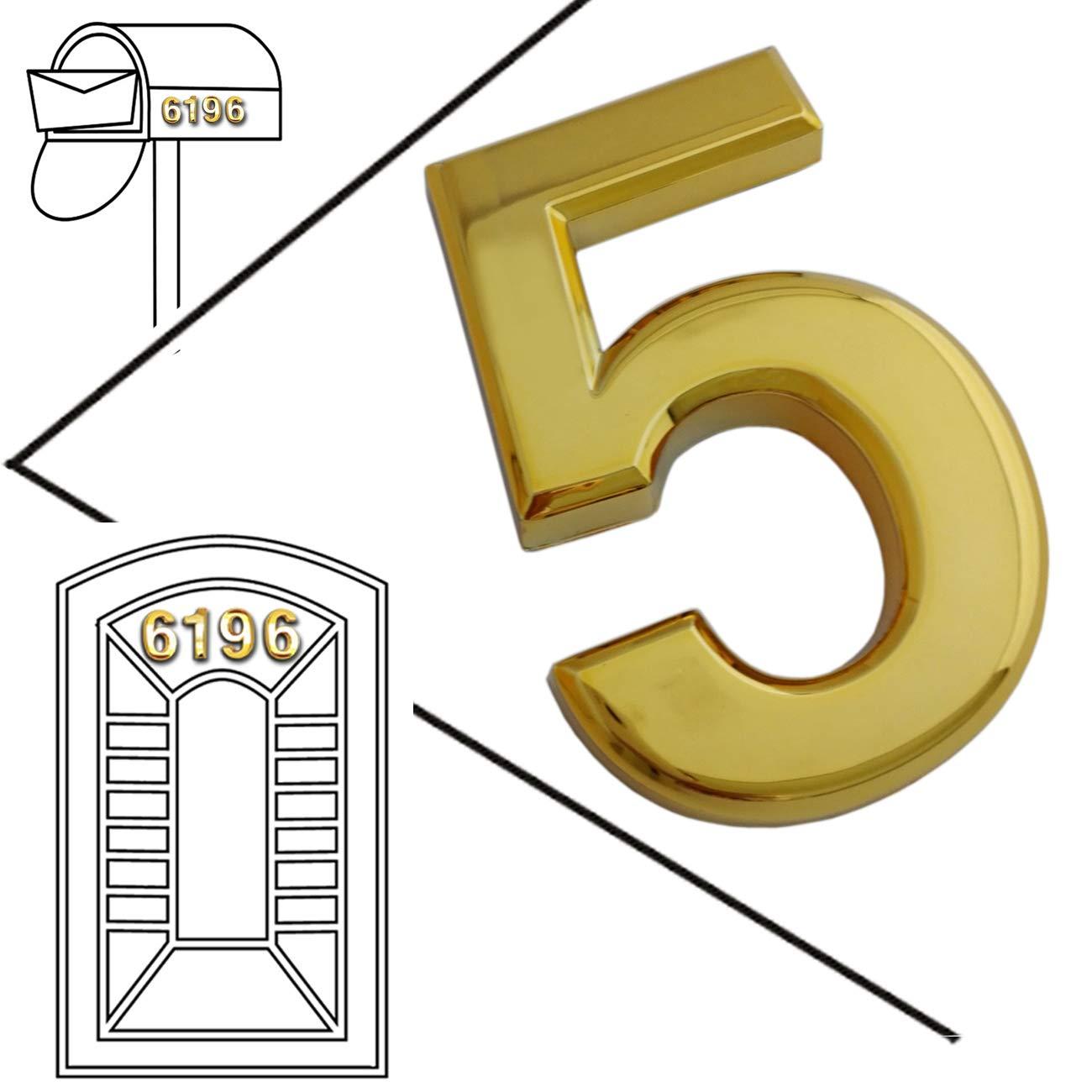 Magicdo door numbers mailbox numbers self stick solid metal golden numbers for doors 3d numbers for office door signs car numbers2 3 4 inch golden