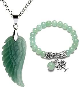 Top Plaza Reiki Healing Crystal Quartz Gemstones Jewelry Angel Wings Carved Stone Pendant Necklace Tree of Life Charm Stretch Bracelet Set