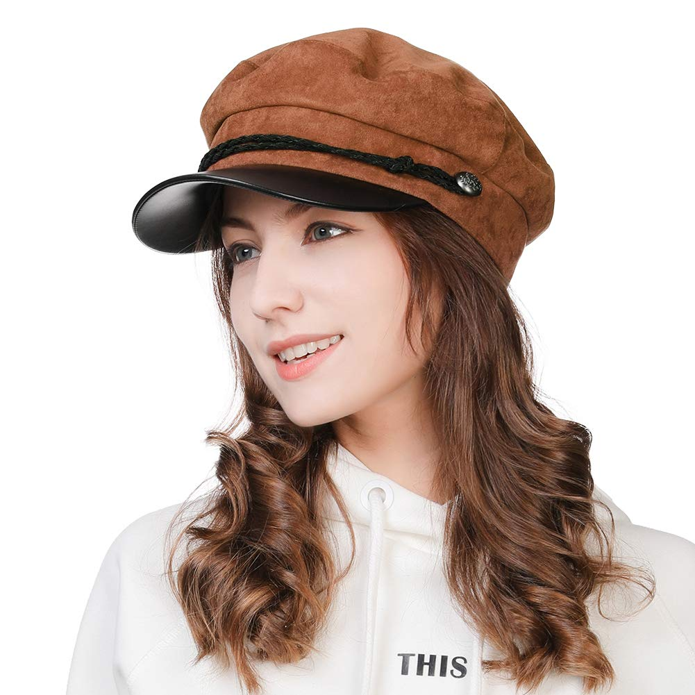 34853e5361ebb FancetAccessory Fashion Suede Newsboy Cap Sailor Fiddler Greek Hat ...