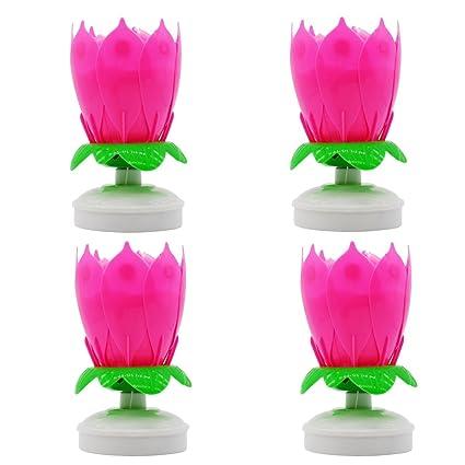 Happy Birthday Music Candles Flower Pink 4pcs Setromantic Birthday