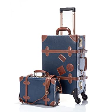 UNIWALKER Pu Leather Vintage Luggage Set Carry On Suitcase for Womens