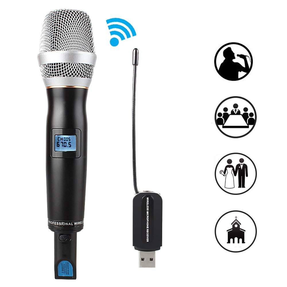 MAONO AU-700 USB Wireless Microphone UHF Handheld Cardioid Vocal Mic Studio Dynamic Mic for Karaoke, Speech (black) 4330236068