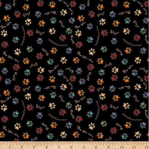 (Quilting Treasures Fabrics Must Love Dogs Paw Prints Black Fabric by the Yard)