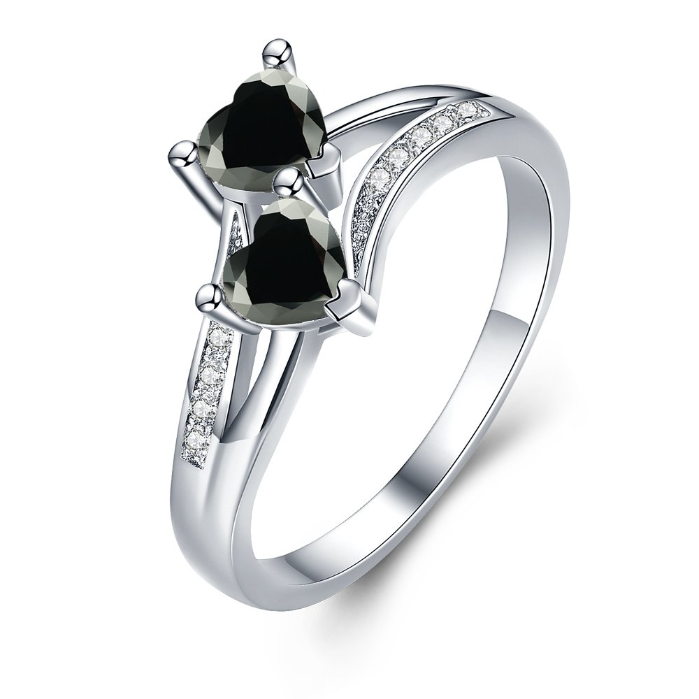 MDEAN Love Heart Cut CZ Wedding Engagement Ring Black Style Stone Ring for Women Size 5-12 (12) MDEAN Factory
