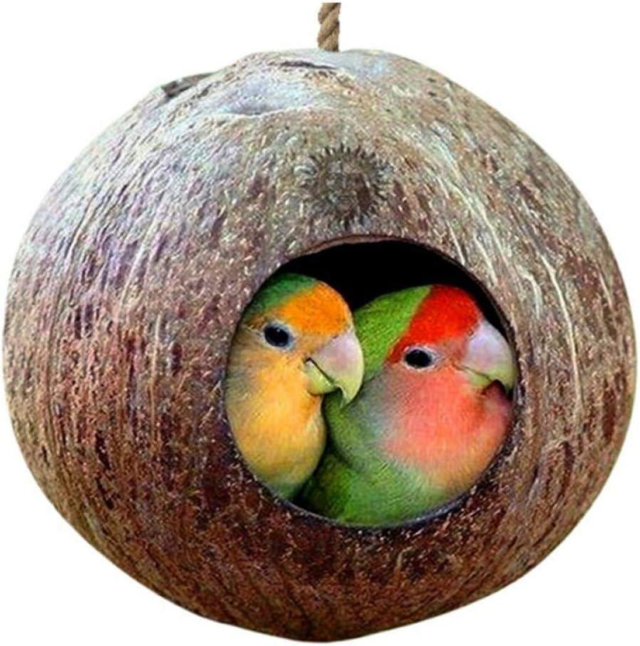 TOSSPER Jaula con Colgar la Cuerda de Seguridad para pequeñas Mascotas Periquitos pinzones gorriones Accesorios Coco Shell Natural de Aves de anidamiento Casa