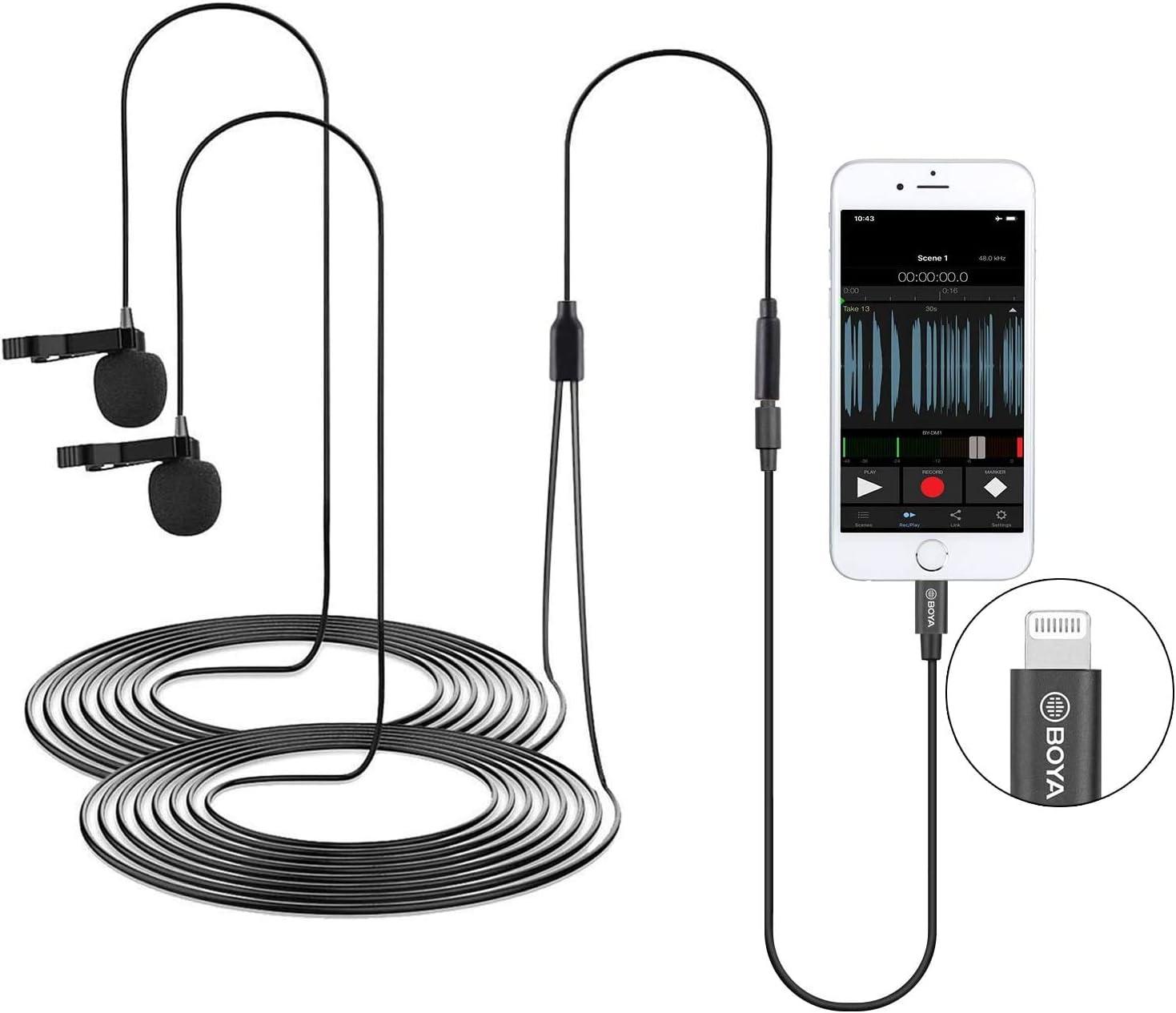 Boya By M2d Digitale Omnidirektionale Lavalier Doppelkopfmikrofone Kompatibel Mit Iphone Ipad Und Ipod Touch Ios Geräten Bürobedarf Schreibwaren